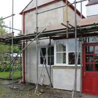 lime scratch coat before lime rendering